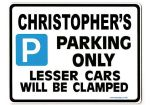 CHRISTOPHER'S Personalised Gift |Unique Present for Him | Parking Sign - Size Large - Metal faced